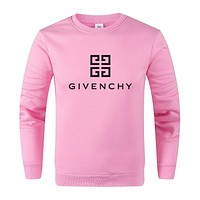 GIVENCHY Autumn Winter Women Men Casual Print Long Sleeve Sweater Sweatshirt Pink