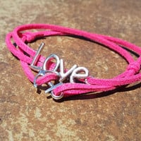 Bright Pink Leather Silver Love Anchor Bracelet Anklet Charm Men Women Unisex Fashion New Love Cute Diy Friendship