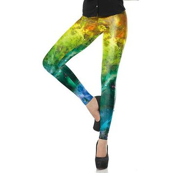 Gradient Galaxy Space Printed Leggings