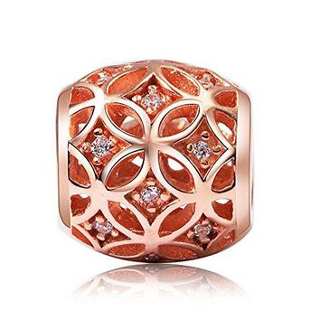 BEAUTY CHARM Silver Flower Beads DIY Rose Gold Plated Crystal Charm Fit Pandora Chain or Bracelet