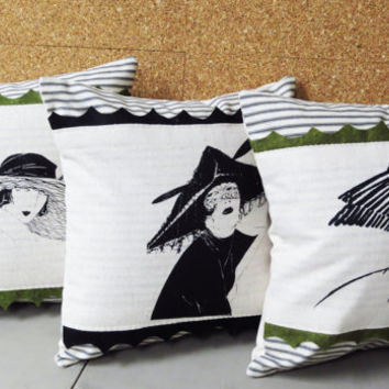 Set of Three Decorative Throw Pillow Cushion Covers with Vintage Inspired Art Deco Lady Screen Print