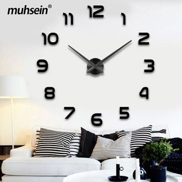 wedding decoration WallClock Watch muhsein 3D DIY Acrylic Mirror Wall Stickers Decor Living Room Quartz Needle Free