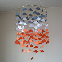 Cloud Gray/Orange mobile. READY TO SHIP! Baby Nursery mobile,Crib mobile,Happy Birthday, All occasion lullaby mobile. Choose Your Colors!
