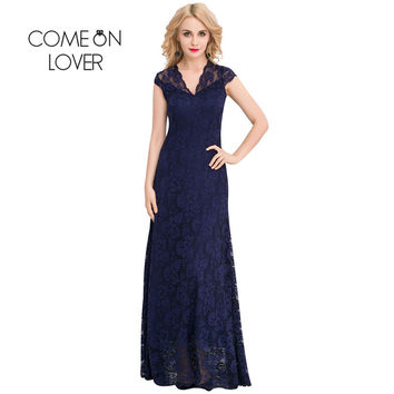 VI1044 Comeonlover Wedding Evening Party Long Dresses V-neck Lace Embroidered Maxi Dress High Quality Lace Plus Size Dresses