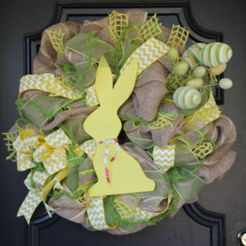 Easter Wreath Burlap Bunny Wreath Spring Rabbit Easter Decor Easter Wreath Easter Egg Wreath Yellow Spring Wreath Burlap Spring