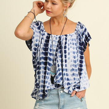 Boho Tie Dye Navy Handkerchief Top by Umgee