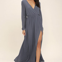 Wondrous Water Lilies Slate Grey Long Sleeve Maxi Dress