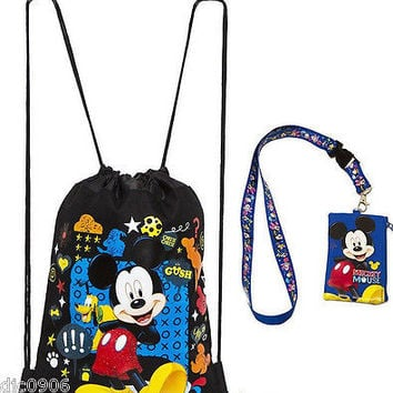 DISNEY MICKEY MOUSE BLACK DRAWSTRING BAG BACKPACK + MICKEY LANYARD COIN POUCH