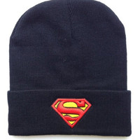 Winter Knit Navy beanie Hat Men/Women Cap Skully Letter - Superman