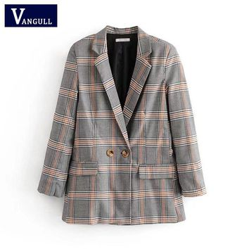Trendy Women Plaid Elegant Suit Coat Ladies Vintage Single Button Pockets Fashion Jacket Autumn Casual Outwear Capa Mujer VANGULL 2018 AT_94_13