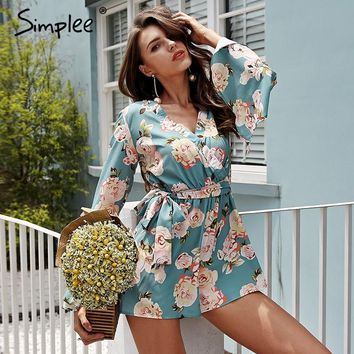 Simplee Boho floral print rompers womens jumpsuit Sexy v neck flare long sleeve playsuit High waist sash summer beach macacao