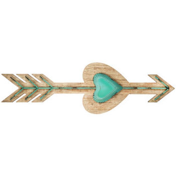 Turquoise Wood & Metal Heart Arrow Wall Decor | Hobby Lobby | 1311554