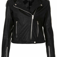 Collarless Leather Biker