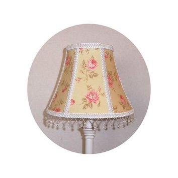 Shabby Chic Pink Roses on Yellow fabric ~ Lamp Shade by ToileChicBoutique