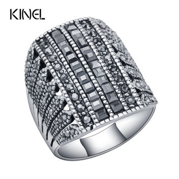 Punk Rock Big Butterfly Ring Fashion Black Crystal Rings For Women Vintage Wedding Party Accessories Love Gift