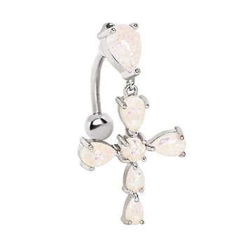 316L Stainless Steel White Synthetic Opal Cross Top Down WildKlass Navel Ring