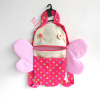 Toddler backpack | Butterfly zippered back pack | Zacola: Kid zippered bag butterfly wings | toddler girl bag | kids school lunch bag | pink