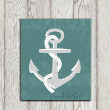 Anchor printable print Beach art Nautical print Teal Turquoise Bathroom decor Beach house decor Sea art Gift idea Ocean art INSTANT DOWNLOAD