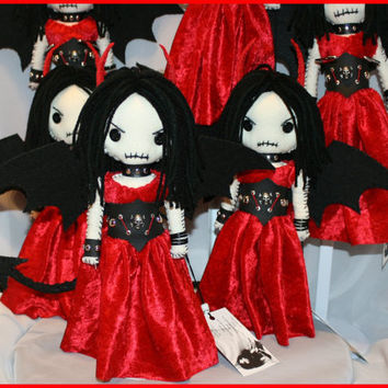 OOAK Hand Stitched Devil Rag Doll Creepy Gothic Folk Art Fairy By Jodi Cain