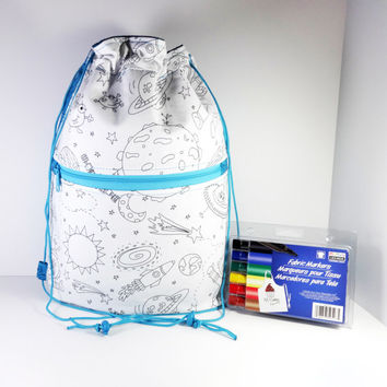 Color Me Bag - Drawstring Backpack - Drawstring Bag - Boy Bag - Cinch Sack - Backpack - Coloring Bag - School Backpack - Cinch Bag - Bag