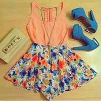 2015 Fashion Women's Orange and Print 2 Pieces Patchwork Novelty Sleeveless O-neck Casual Dresses = 1901173636