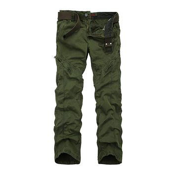 Spring Cotton Loose Cargo Pants Military Style