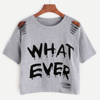 Grey Letter Print Ripped T-shirtFor Women-romwe