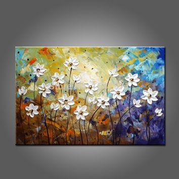 Hand Painted High Quality Abstract Modern Flowers Oil Painting On Canvas Abstract Flower Oil Paintings For Kitchen And Bedroom
