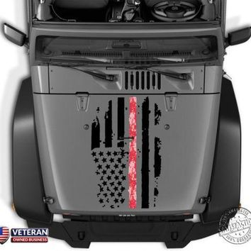 Distressed Digi Camo American Flag Thin Line Hood Decal: Jeep Dodge Ford Chevy