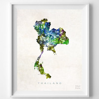 Thailand, Map, Asia, Print, Bangkok, Watercolor, Home Town, Poster, Country, Wall Decor, Painting, World, Living Room, Gift, Bed Room