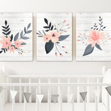 WATERCOLOR Floral Wall Art, Watercolor Flower Artwork, Pink Navy Girl Nursery Decor, Floral Wood Design Artwork, Set of 3 Canvas or Prints