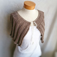 spring knit capelette scarf softly ruffled Victorian merino wool shoulderette shawl with ribbon tie