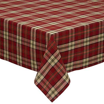 "Design Imports 84"" Campfire Tablecloth in Plaid"