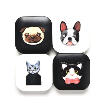 Cartoon Dog Cat Printing Contact Lens Cute Case Holder Container Case For Lenses Eye Color Box