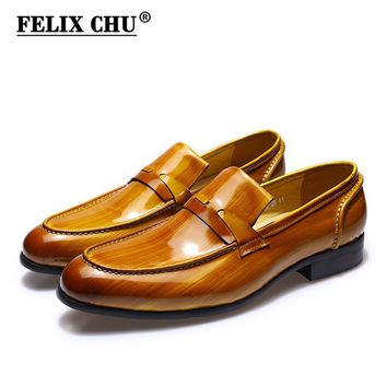 FELIX CHU High Quality Brushed Patent Leather Men Brown Wedding Party Loafer Slip On Casual Business Office Man Dress Shoes