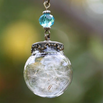 Aquamarine Dandelion Necklace, Make a Wish, Whimsy Rustic Botanical Nature, Wedding Bridal, Graduation, Hope Good Luck Charm, Mother's Day