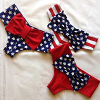 Cheeky Bikini Bow Bottoms Patriotic Colors Flag, Red, White, Blue Stars & Stripes