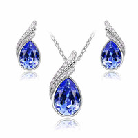 2017 New Arrival Women's Angle Tear Drop Crystal Pendant Necklace and Earring Jewelry Set in Various Colors