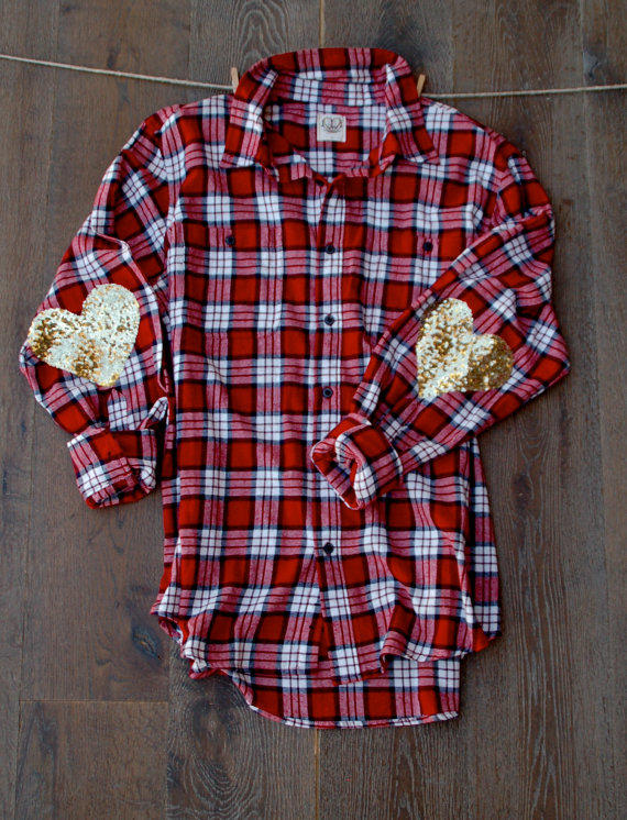 Sequin heart elbow patch flannel the from love bambii a k a for Mens flannel shirt with elbow patches