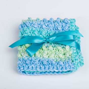 Crochet Washcloth, Scrubbie Cotton Spa- variegated sea colors