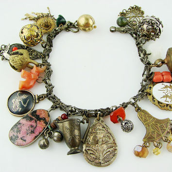 VINTAGE Antique OOAK Siam Indian Arabian Tribal Ethnic Charm Bracelet