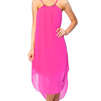 Midi Chiffon Shift Dress - Pink