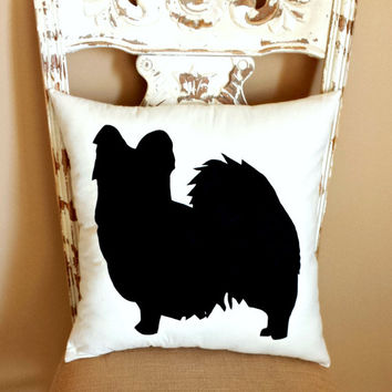 Papillon Dog Silhouette Throw Pillow, Decorative Pillow, Home Decor, Pets, Dog Pillow, Dorm Decor, Sofa Pillow **FREE SHIPPING**