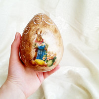 Decoupage easter egg ornament, easter decoration rustic vintage patina egg bunny chicken