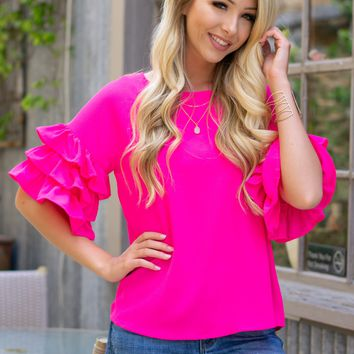 Salsa Flutter Tiered Sleeve Top