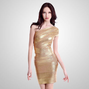 Women's Fashion Sexy Gold One Shoulder Bandages Dress [4919869316]