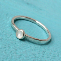 Silver stacking ring, 4 mm mother of pearl ring, stackable, organic jewelry, sterling silver handmade white ring, gift for bridesmaid bridal