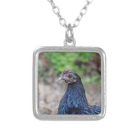 Black Bantam Chicken Pendants from Zazzle.com