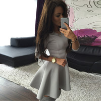 2016 hot Fashion Sleeve Sexy Bodycon mini dress and winter evenings in spring and autumn sleeve dress tricolor
