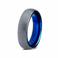 Tungsten Ring Blue Wedding Band Mens Wedding Ring Man Engagement Ring Anniversary Promise Brushed 6mm Tungsten Carbide Silver Matching Blue Ring Promise